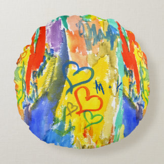 Watercolor Abstract Hearts Colorful Random Paint Round Cushion