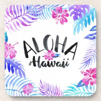 Watercolor Aloha Hawaii Tropical   Coaster
