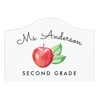 Watercolor Apple Personalized Classroom Sign