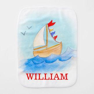 Watercolor art wooden boat sailing name burp cloth