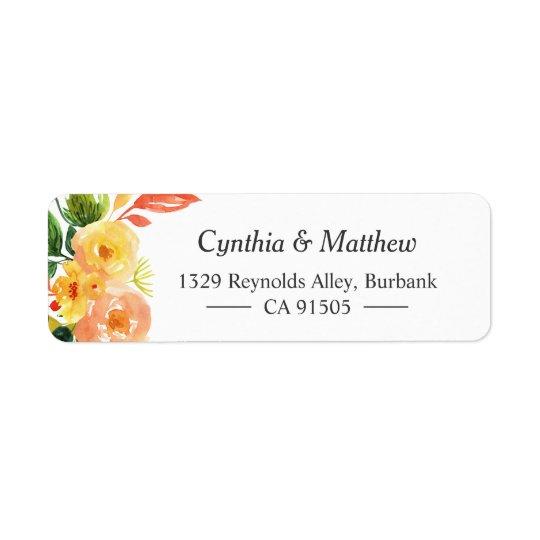 Watercolor Autumn Peach Floral Bouquet Return Address Label