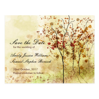 Watercolor Autumn Save the Date Postcard