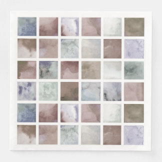 Watercolor . Beige and grey squares . Disposable Napkin