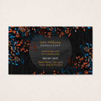 Watercolor black wood Nature Paints Black Orange Business Card