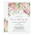 Watercolor Blooms | Pink and Gold Floral Wedding Card