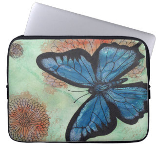 Watercolor Blue Butterfly Computer Sleeve
