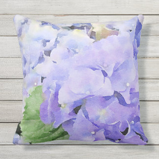 Watercolor Blue Hydrangea Outdoor Outdoor Cushion