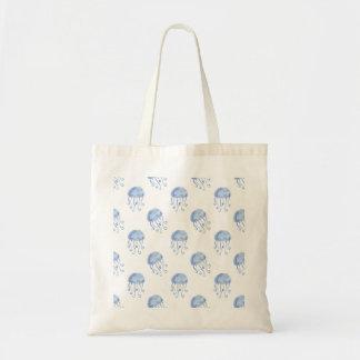 watercolor blue jellyfish beach design tote bag