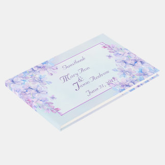 Watercolor Blue Purple Lilac Flower Guestbook