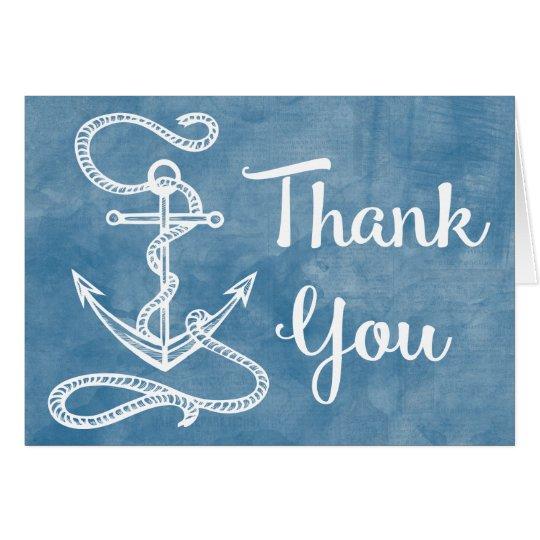 Watercolor Blue Thank You Nautical Ship Anchor Card