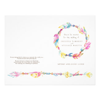 Watercolor boho feather wreath wedding programme