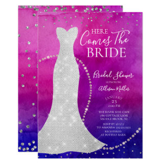 Watercolor Bride Bridal Shower Invitation