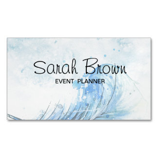 Watercolor business card for event planner magnetic business cards