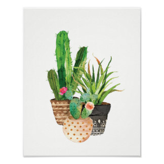 Watercolor Cactus and Succulent Group Poster