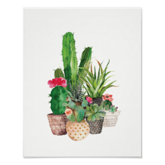 Watercolor Cactus and Succulents Poster