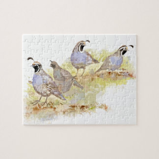 Watercolor California Quail Bird Nature Art Jigsaw Puzzle