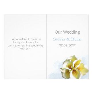 watercolor calla lilies  bi fold Wedding program 21.5 Cm X 28 Cm Flyer