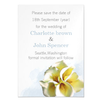 watercolor calla lilies save the date announcement magnetic invitations