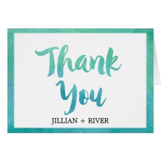 Watercolor Calligraphy Beach Wedding Thank You Card