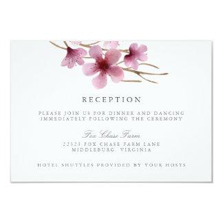 Watercolor Cherry Blossoms Wedding Reception 9 Cm X 13 Cm Invitation Card