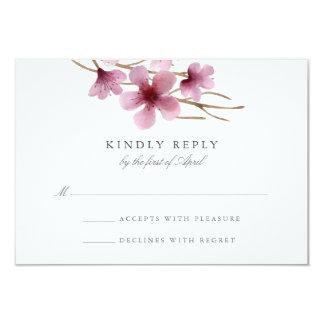 Watercolor Cherry Blossoms Wedding RSVP 9 Cm X 13 Cm Invitation Card