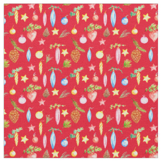 Watercolor Christmas Decoration Fabric