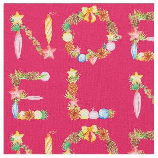Watercolor Christmas Decoration NOEL Fabric
