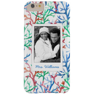 Watercolor Coral Pattern | Your Photo & Name Barely There iPhone 6 Plus Case