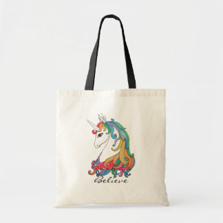 Watercolor cute rainbow unicorn tote bag