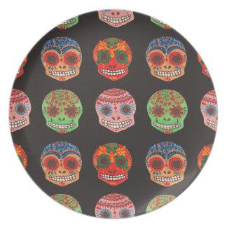 Watercolor Dia de los Muertos Skulls Pattern Plate