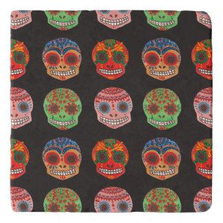 Watercolor Dia de los Muertos Skulls Pattern Trivet