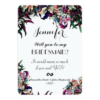 Watercolor Dragon Lilies Bridesmaids Invitations