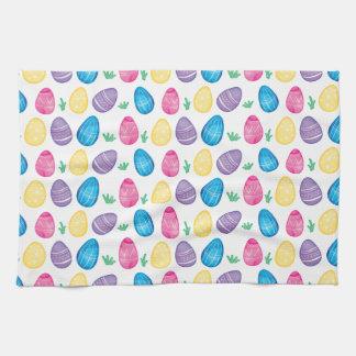 Watercolor Easter Egg Hunt Pattern Tea Towel