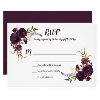 Watercolor Eggplant Purple Roses Floral Boho RSVP Card