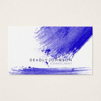 Watercolor Elegant Simple Splatter Blue Nature Business Card