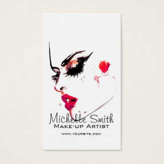 Watercolor face makeup artist branding business card