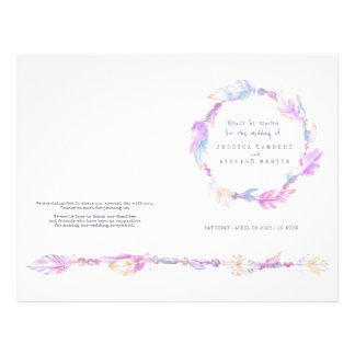 Watercolor feather purple wreath wedding programme