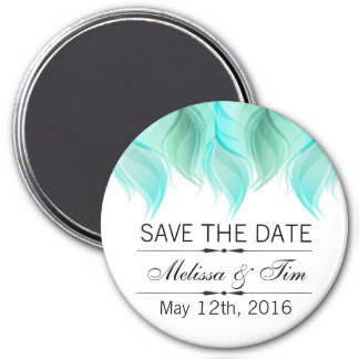 Watercolor Feathers Wedding Save the Date 3 Inch Round Magnet