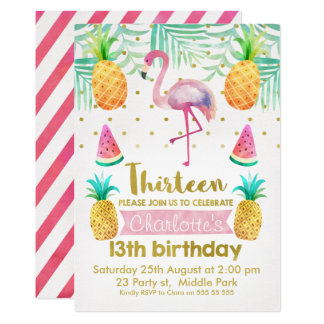Watercolor Flamingo 13th Birthday Invitation