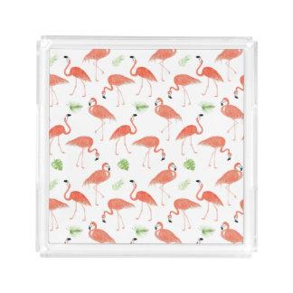 Watercolor Flamingo Pattern Perfume Vanity Tray