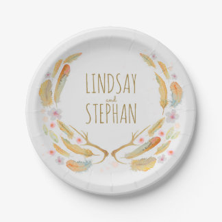 Watercolor Floral Antlers and Feathers Boho Chic Paper Plate