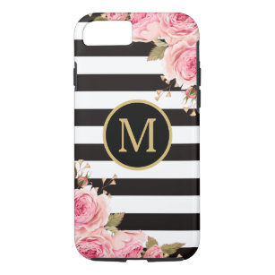 Watercolor Floral Black and White Stripes Monogram Case-Mate iPhone Case