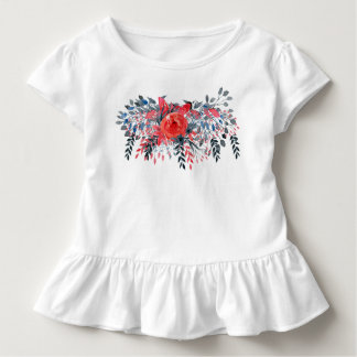 Watercolor Floral Blue Denim and Red Rose Toddler T-Shirt