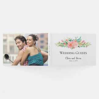 Watercolor Floral Bouquet with Your Photo Guest Book