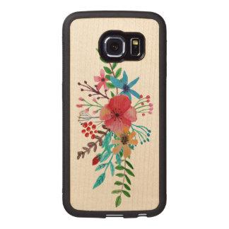 Watercolor Floral Bouquet Wood Phone Case