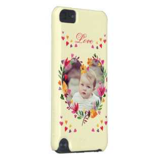 Watercolor Floral Love Heart Wreath Photo iPod Touch (5th Generation) Covers