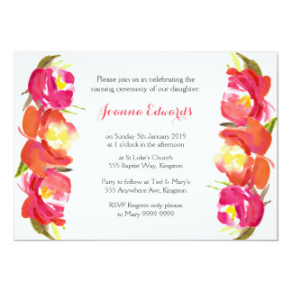 Watercolor Floral Naming Ceremony Personalized 13 Cm X 18 Cm Invitation Card