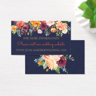 Watercolor Floral Navy Blue Wedding Details Card