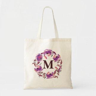Watercolor Floral Personalised Monogram Canvas Bag