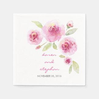 watercolor floral romantic vintage wedding disposable serviettes